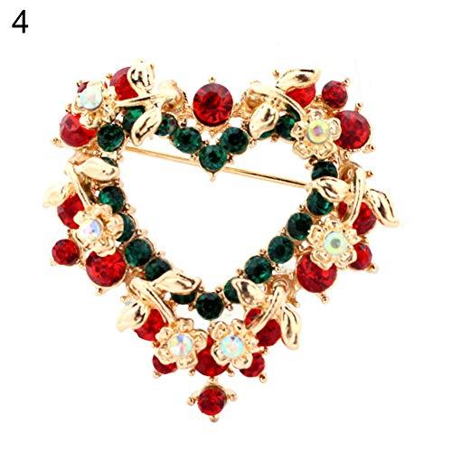 Brooch Pin,Maserfaliw Jewelry Brooch Breastpin,Women Christmas Santa Sock Tree Snowman Brooch Pin Enamel Collar Xmas Jewelry - 4#