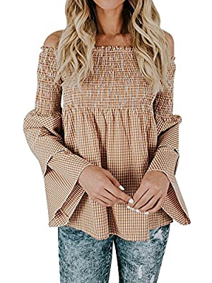 Nulibenna Women Off Shoulder Blouse Ruffle Bell Sleeve Plaid Elegant Casual T Shirts
