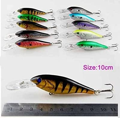 Easy Catch ® 10pcs/lot 10.2g 3D Fishing Eyes Hard Minnow Baits Life-like Swimbait Bass Crankbait Tackle with 2 Extra Strong Treble Hooks for Pikes/Bass/Trout /Walleye/Redfish