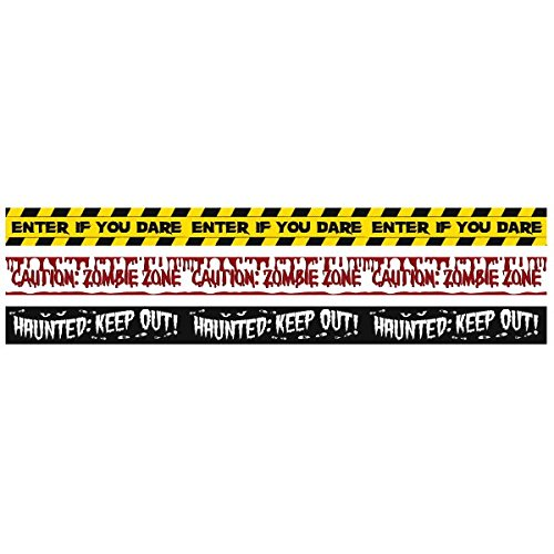 Amscan Fright Tape Creepy Zombie Apocalypse Halloween Trick Or Treat Party Decoration (Pack of 3), Multicolor, 30'