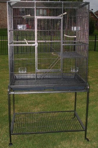 Pet Products Large Wrought Iron Flight Cage With Removable Rolling Stand Bird Cage, Black Vein, 32-Inch by 19-Inch by 60-Inch by Mcage
