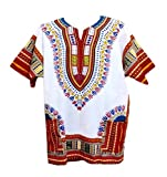 Vipada Handmade Dashiki Shirt African Top Clothing Kaftan White and Red L