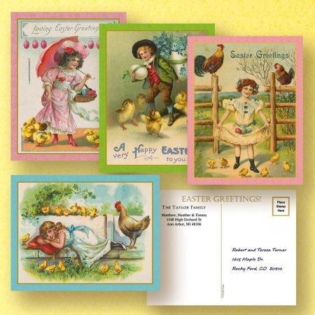 Postcard Easter (Colorful Images Vintage Personalized Easter Postcards - Set of 24 5-1/4