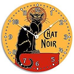 Vintage French black cat clock. Chat noir design wall clock. 10 inch wall clock.