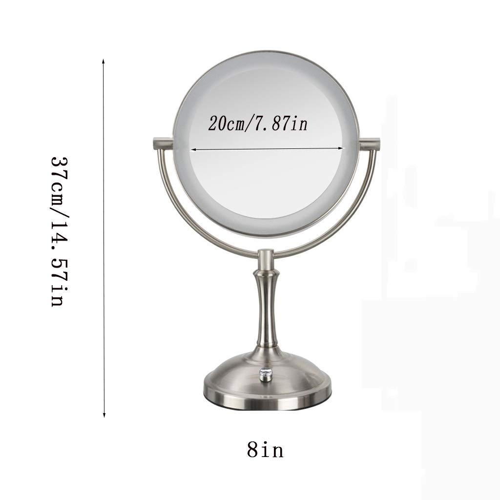 Selm 拡大鏡3倍化粧鏡、卓上両面360度回転化粧鏡、27個のランプビーズ付き寝室用金属材料   B07TH91GBR