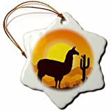 3dRose Sven Herkenrath Animal - Lama Alpaca in Mexican Nature with Sunset in the Background - 3 inch Snowflake Porcelain Ornament (orn_280322_1)
