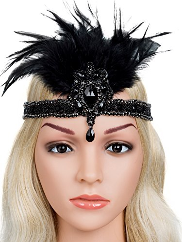 Zivyes 20s Headpiece 1920s Gatsby Flapper Headband Vintage Silver Beaded Feather (Black)