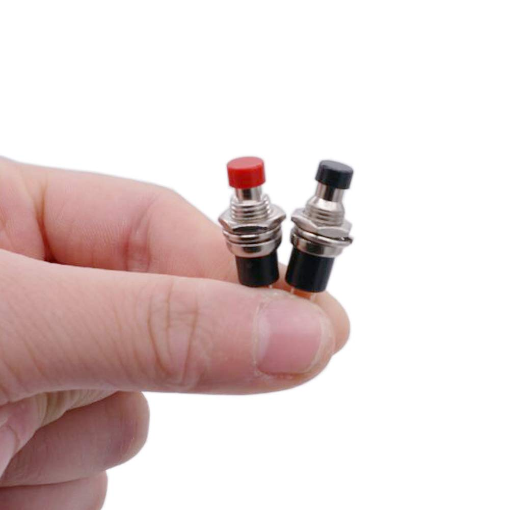 Twidec//12Pcs 1A 250V AC 2 Pins SPST 6 Colors Normal Open Mini Momentary Push Button Switch PBS-110-6C