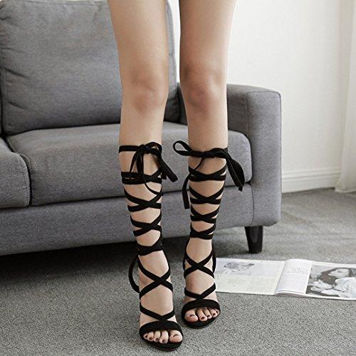 Femmes Satin Bloc Talons Hauts Sexy Bride à La Cheville Romaine Sandales Chaussures Dames Peep Toe Robe Chaussures Parti Mariage Strappy Pompes Black sxjAdgr