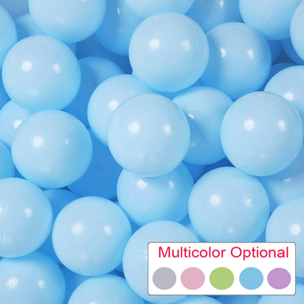 PlayMaty Pack of 50 Macaron Ball Pit Plastic Ball Kids Swim Pit Fun Toy 50 Pieces Phthalate Free BPA Free Balls with Storage Bag for Baby Playhouse Pool Birthday Party Decoration (Light Blue)