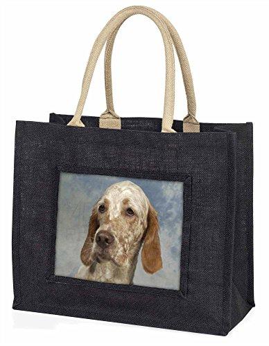 Advanta–Große Einkaufstasche English Setter Große Einkaufstasche Weihnachtsgeschenk Idee, Jute, schwarz, 42x 34,5x 2cm