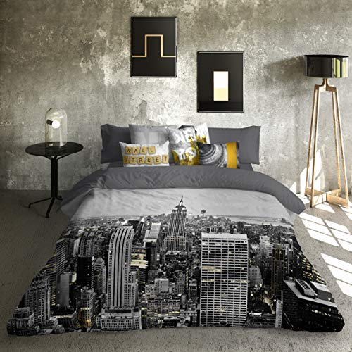 Luna Style Queen Size Duvet Cover Bedding Set - Luxury New York Wall Street Dark Grey Modern Printed 100% Natural Cotton Bed Sheets Linen - 3 Pieces