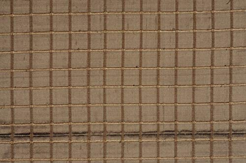 Cafe Gold Silk Shantung Windowpane 54