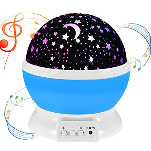 Music Night Light Projector lamp Baby Star Projector,MATIXING 4 LED Bulbs 8 Colors 12 Soft Music,USB Cable / Batteries Powered for Nursery Bedroom Holiday Party, Wedding and Celebrations (Blue) - Melody Night Light