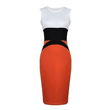 Damen Kleid Kontrast Farben ärmellos Promi-party Kleider Bleistif ...
