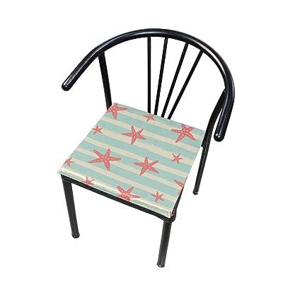 FICOO Home Patio Chair Cushion Ocean Starfish Pattern Square Cushion Non-Slip Memory Foam Outdoor Seat Cushion, 16x16 Inch: Home & Kitchen