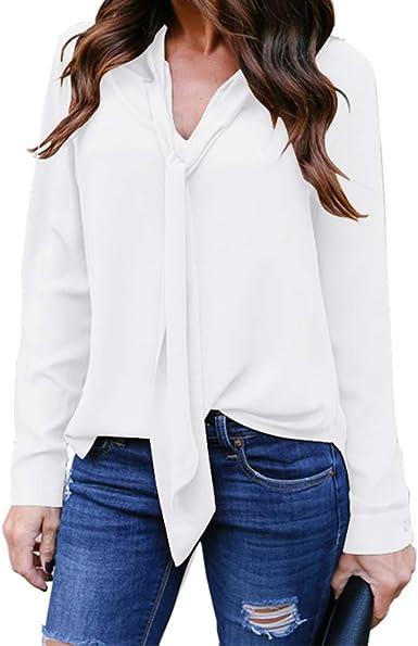 WARMWORD Camiseta Larga Mujer Manga Sólido Cuello en V Corbata ...