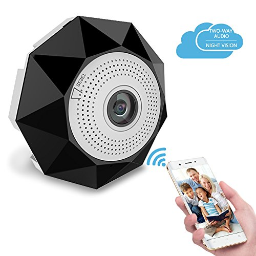 360 Degree Panoramic WiFi Camera, YIJIA Wireless Home Security IP Camera with Two-Way Audio, Motion Detection, Remote Monitoring, Hidden VR Camera with Night Vision