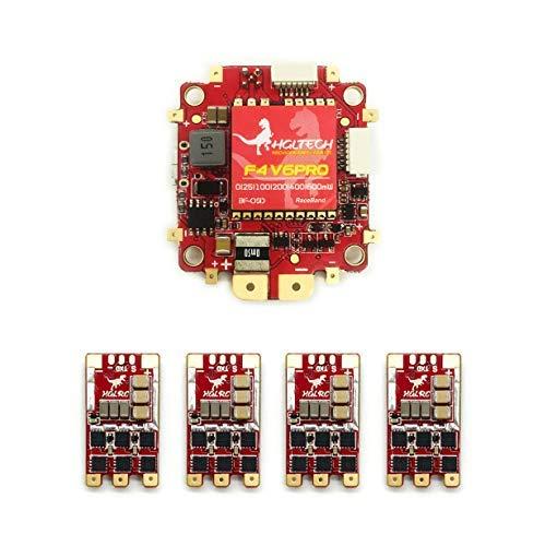 HGLRC F4 V6 Pro FC フライトコントローラー 600MW VTX Dshot1200 T-Rex 35A ブラシレス ESC BLheli_32 3S - 6S 電子スピードコントローラー OSD PDB 2S- 6S RC FPV レーシングドローン用 (SMA メス)   B07MR7FY5F
