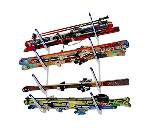 StoreYourBoard Horizontal Multi Ski Wall Rack, Home and Garage Skiing Storage - Rack Ski Steel