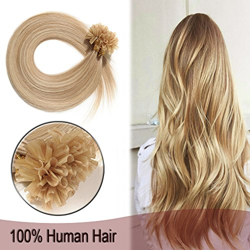 16 Inch 100 Strands U-Tip Remy Fusion Hair Extensions