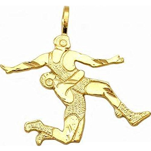 14K Gold Wrestlers Charm Wrestling DC Jewelry 24.5mm by FindingKing