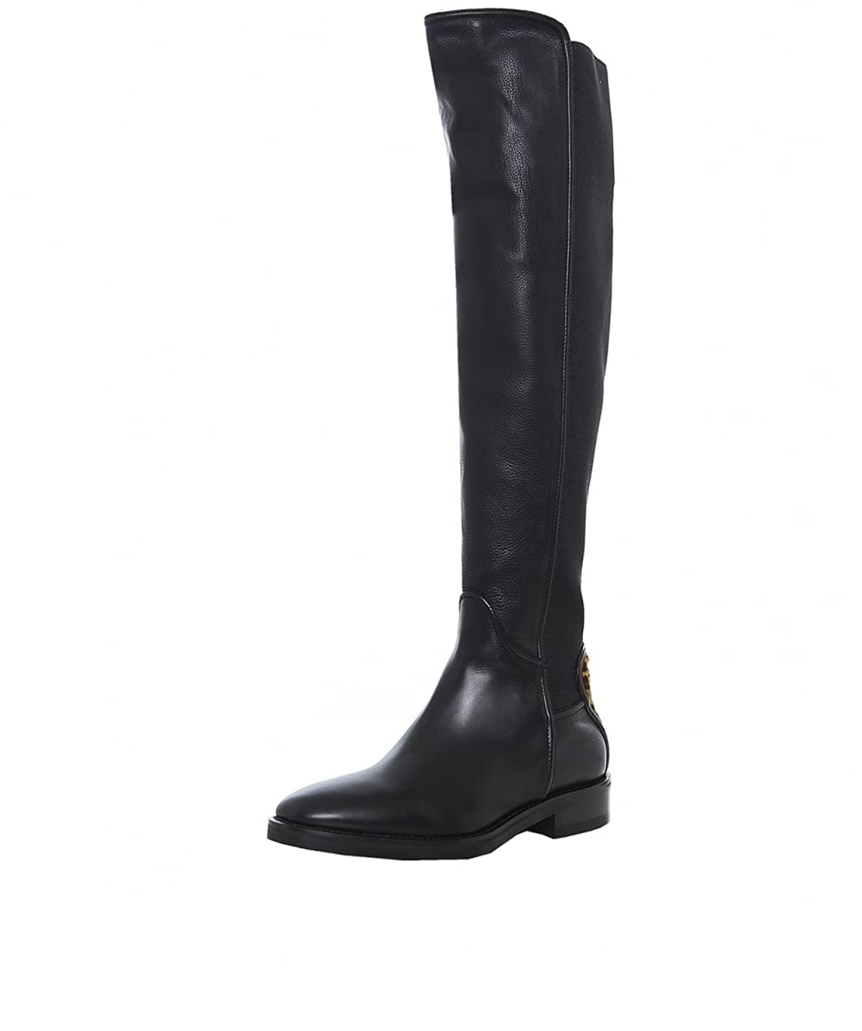 Le Pepe Women's Leopard Knee High Leather Boots Black