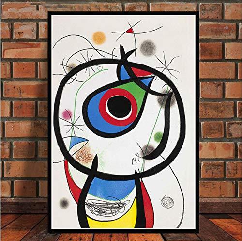 JIUJIUJIU Cartel e Impresiones Pintor espanol Famoso Moderno Abstracto Retro Pinturas Arte Arte de la Pared Lienzo Cuadros de Pared para decoracion del hogar sin Marco 60 90 cm