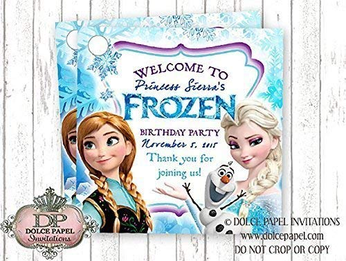 10 Unique Frozen Elsa and Anna Custom Birthday Party Favor Tags