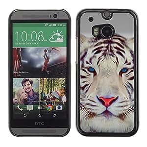 Qstar Arte & diseño plástico duro Fundas Cover Cubre Hard Case Cover para HTC One M8 ( Tiger Cute Eyes Feline Big Cat Winter)