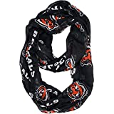 1 Piece Nfl Bengals Scarf 70 X 25 Inches, Football Themed Woman Accessory Sports Patterned, Team Logo Fan Merchandise Athletic Team Spirit Fan Orange Black White, Polyester