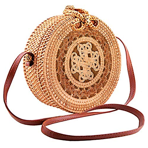 Handwoven Round Rattan Crossbody Bag for Women Leather Shoulder Straps Round Rattan Purse Straw Bags (Pattern2 )