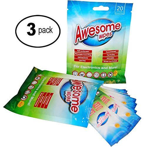 Awesome Wipes Antibacterial Electronic Wipes - Universal Disposable Screen Wipes - Best for LED, LCD TV or Computer, Lens and Glasses - Pre-Moistened and Streak Free (3 Pack)