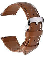 Fullmosa 12 Farben Uhrenarmband, Axus Serie Lederarmband Ersatband mit Edelstahl Metall Schließe für Herren Damen 14/16/18/19/20/22/24mm