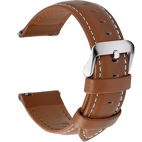 (12 Colors for Quick Release Leather Watch Band, Fullmosa Axus Genuine Leather Watch Strap,Brown,22mm)