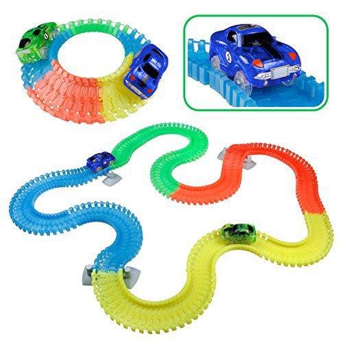 Pista Cars Luminosa, Auto Tracks Bright Auto, Pista Macchine Giocattolo Cars con 5 LED Si Illuminano al Buio per Bambini 3 4 5 6 Anni, 240 PCS