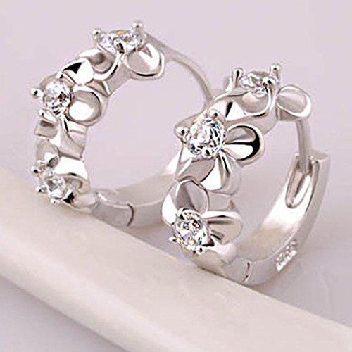 Gbell Women's Silver Camellia Diamond Hoop Clip On Earrings Charm Jewelry for Girls Ladies (Silver)