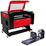Happybuy 20''x28'' 80W Co2 Laser Engraver Rotary A-AXIS Craft 3-Jaw Laser Engraving Cutting Machine Water Cooling DSP Control System (80W with Rotary Attachment)