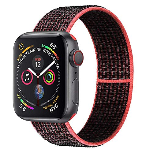 Muzzai Nylon Sport Band Compatible for Apple Watch Bands 38mm 40mm 42mm 44mm, Soft Lightweight Breathable Nylon Loop Replacement Wristband Compatible for Apple Watch iWatch Series 4/3/2/1