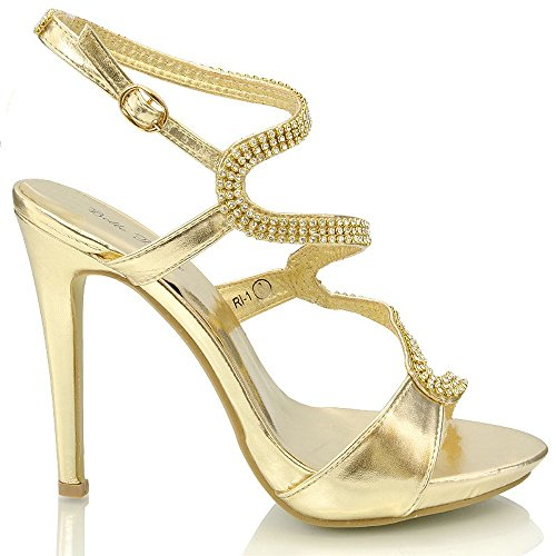 Essex Glam Donna Tacchi A Spillo Diamante Cinturino Alla Caviglia Sandali Open Toe Oro Metallizzato