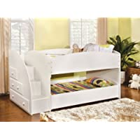 Furniture of America Haute Twin Over Twin Bunk Bed with Drawers, White