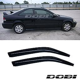 VioletLisa 2pcs Front Smoke Sun/Rain Guard Vent Shade Window Visors For 96-00 Honda Civic 2-Door Coupe
