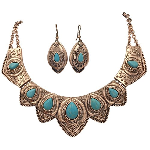 Western Style Imitation Turquoise Necklace and Earrings Set (Copper Tone ()