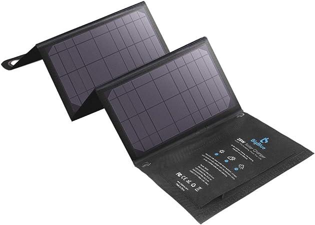 BigBlue 28W Cargador Panel Solar (5V/4.8A Total Máximo) Impermeable Placa Solar Plegable con 3 USB Puertos para Móviles, Tablets, GoPro y Otros ...