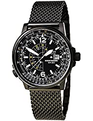 Citizen Eco-Drive Nighthawk Black Dial SS Quartz Mens Watch BJ7009-58E