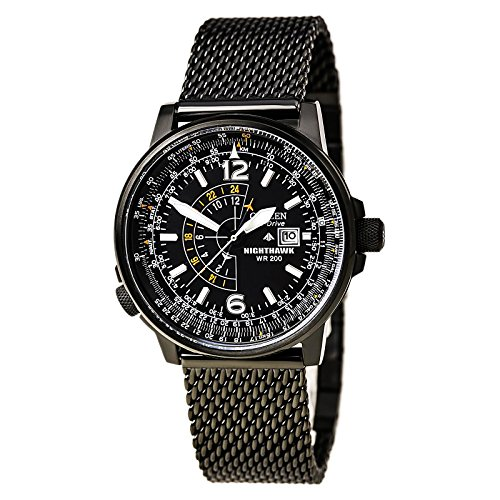 Citizen Eco-Drive Nighthawk Black Dial SS Quartz Men's Watch BJ7009-58E ()
