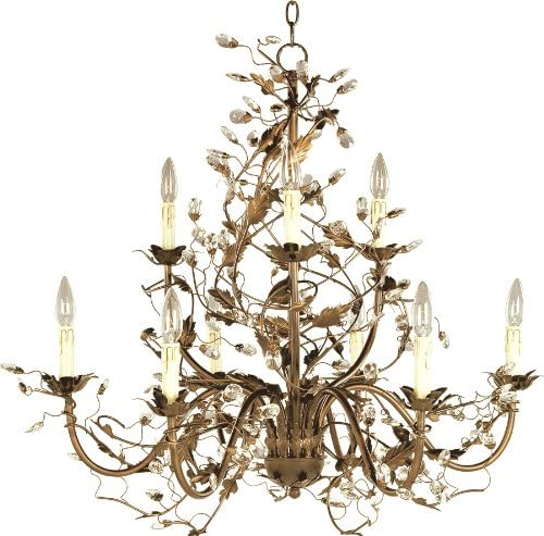 Maxim 2852EG Elegante Crystal and Leaves Around Vines Candle Chandelier