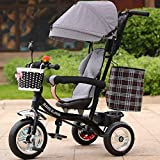 keyi le Durable and Sturdy Multifunctional Children's Tricycle Baby Trolley 1-6 Years Old Infant Child Bicycle Removable Boys And Girls Bike Multi-color Cloth Awning (Color : Black-B)