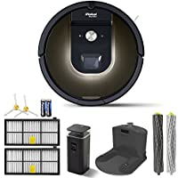iRobot Robot Roomba 980 Vacuum Cleaning Robot + 1 Dual Mode Virtual Wall Barriers (With Batteries) + Extra Side Brush + High Efficiency Filter + More (Certified Refurbished)