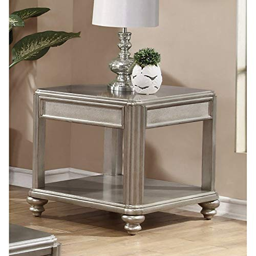 Coaster Home Furnishings Bling Game End Table with Shelf Metallic Platinum